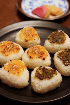 ふきのとう味噌と柚子味噌の焼きおにぎり